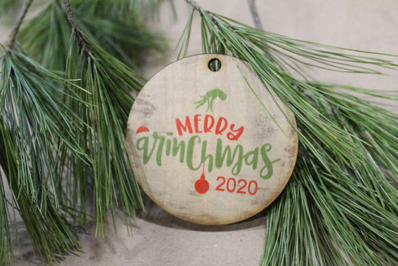 Set of 3 Merry Ginchmas Ornament 2020 With Date Grinch Christmas Keychain Décor Wood Sign Tree Gift Cute Whoville Hand Green Festive