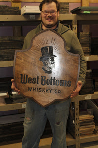 Micro Brewery Whiskey Company Drinkery Custom Sign Wood Laser Engraved Steam Punk Contour Cut Bar Custom Business Sign Logo