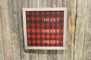 Buffalo Plaid Merry Merry Merry Sign Wood Text Christmas Décor Gray Framed Print Pallet Wood Decoration Wall Art Farmhouse Primitive Rustic