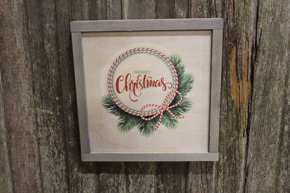 Primitive Merry Christmas Wood Sign Evergreen Wreath Gray Framed Print Red and White Stripe Script Wall Art Farmhouse Decoration Rustic