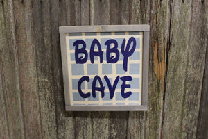 Nursery Room Sign Baby Cave Wood Sign Club House Room Sign Gray Framed Print Blue Checked Wall Art Farmhouse Primitive Rustic Decoration