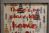 Framed Christmas Wood Sign There is No Place Like Home for the Holidays Text Pine Tree Decoration Print Wall Art Decor Farmhouse Rustic