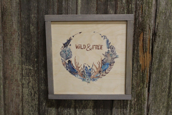 Framed Wild & Free Wood Sign Wreath Feathers Arrows Branches Rustic Text Decoration Print Wall Art Decor Farmhouse Primitive Wall Hanging