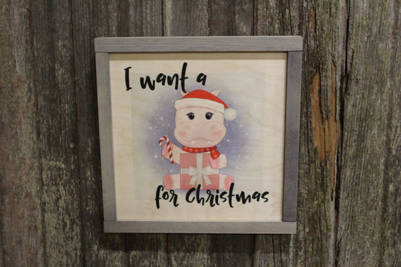 Framed I Want A Hippopotamus For Christmas Wood Sign Hippo Christmas Décor Print Wall Art Decoration Wall Hanging Christmas Lyrics Rustic