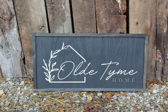 Custom Raised Text Image Business Sign Barn 3D Your Logo Rustic Primitive Black Oversized Large Barn Sign Laurel Leaf Olde Tyme Home