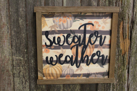 Sweater Weather Wood Sign Pumpkins Farmhouse Décor Autumn Fall Leaves Medium Framed Rustic Printed Script Black and White