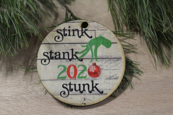 Set of 3 Stink Stank Stunk Ornament 2020 With Date Grinch Christmas Keychain Décor Wood Sign Tree Gift Cute Whoville Hand Green Festive