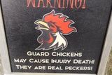 Attack Chicken Sign Wood Warning Rooster Guard Print May Cause Death Wall Art They Are Real Peckers Wall Hanging Farmhouse Rustic Framed