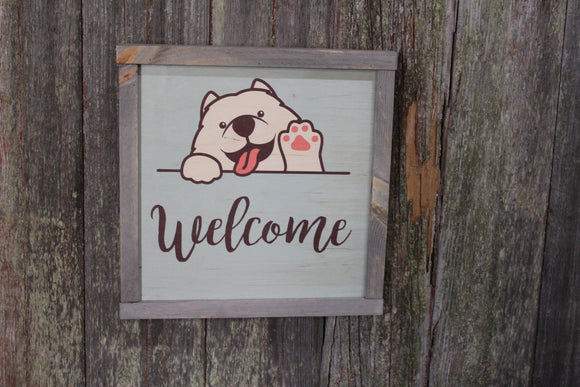 American Eskimo Welcome Wood Sign Fluffy Waving Dog Samoyed Puppy Print Wall Art Decoration Wall Hanging Farmhouse Rustic Framed