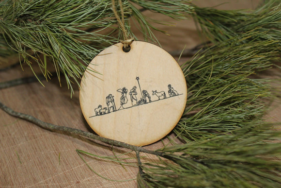 Nativity Scene Ornament Line Art Sketch Wood Slice Holy Family Jesus Mother Mary Joseph Birth Primitive Rustic Tree Printed