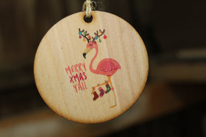 Christmas Flamingo Ornament Merry Xmas Yall Wood Slice Tangled in Christmas Lights Christmas Tree Primitive Rustic Tree Printed Beach Sea