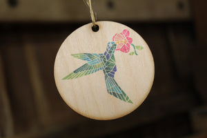 Barn Quilt Hummingbird Ornament Wood Slice Geometric Bird with Flower Pastel Christmas Tree Primitive Rustic Farmhouse