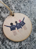 Personalize Your Bridal Party Custom Picture Cartoon Christmas Ornament Wood Slice Wedding Bride Crew Bridesmaids Group Jean Jackets