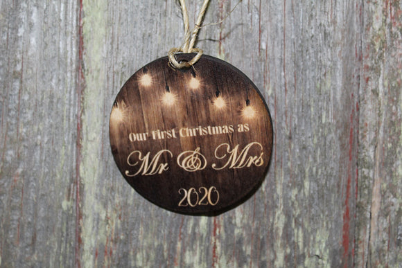 Mr and Mrs First Christmas Wood 2020 Slice Light Bulb Wood Background Primitive Christmas Ornament Rustic Christmas Tree Wood Printed
