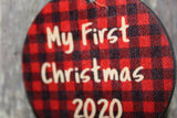 First Christmas Wood 2020 Ornament Slice Red Buffalo Plaid Wood Background Primitive Christmas Ornament Rustic Christmas Tree Wood Printed