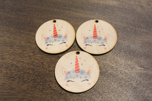 Set of 3 Unicorn Face Ornament With Snowflakes Wood Slice Horn Eyelashes Up-close Winter Primitive Christmas Rustic Christmas Tree Printed