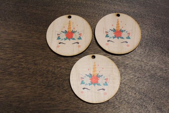 Set of 3 Unicorn Face Ornament With Poinsettias Wood Slice Horn Eyelashes Up-close Flowers Primitive Christmas Ornament Rustic Tree Printed