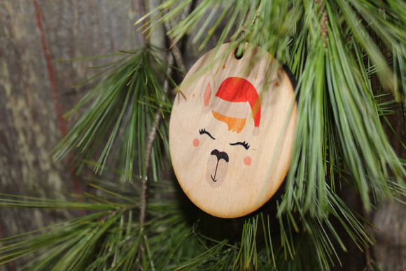 Llama Face Ornament Santa Llama Wood Slice Poinsettia Up-close Primitive Christmas Ornament Rustic Tree Printed