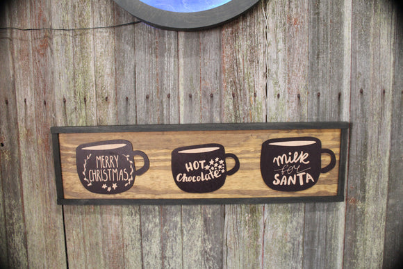 Santas Coco Mug Wood Sign Merry Christmas Cup Hot Chocolate Milk for Santa Rustic 3D Raised Sign Primitive Wall Decoration Decor