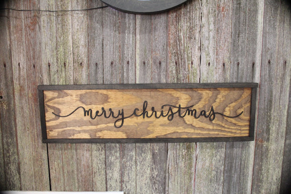 Rustic Merry Christmas Wood Sign Ranch Sign Raised Text Cabin Sign Decor 3D Script Primitive Wall Decoration Text