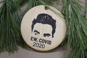 Set of 3 Ew Covid 2020 Wood Slice Funny Christmas Ornament Up-close Primitive David Face Rustic Tree Printed