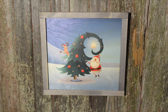 Rustic Santa and Reindeer Christmas Tree Snow Winter Decorating Decoration Farmhouse Décor Framed Primitive Printed