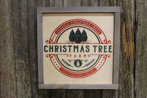 Framed Organic Christmas Tree Wood Sign Pallet Sign Red and Green Evergreen Pine Trees Established Christmas Decor Farm Print Wall Art
