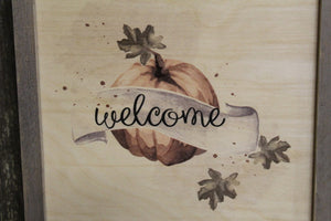Framed Watercolor Pumpkin Welcome Wood Sign Pallet Sign Fall Banner Autumn Leaves Text Script Décor Decoration Print Wall Art