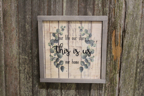 Framed This is Us Wood Sign Eucalyptus Wreath Our Life Our Story Our Home Rustic Text Decoration Print Farmhouse Primitive Wall Art Barn