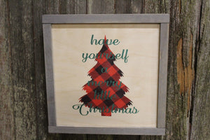 Framed Have Yourself A Merry Little Christmas Wood Sign Plaid Tree Shaped Christmas Décor Print Wall Art Decoration Wall Hanging Lyrics Text