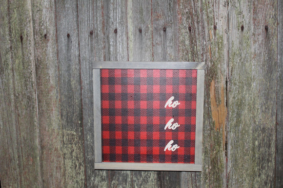 Framed HO HO HO Wood Sign Red Buffalo Plaid Text Pallet Sign Christmas Décor Print Wall Art Decoration Wall Hanging Farmhouse Rustic Santa