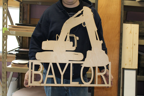 Huge Excavator with Custom Name Personalization Silhouette Cutout Nursery Kids Room Laser Cut Wood Wooden Décor Construction Bull Dozer