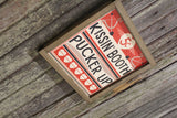 Kissin' Booth Wood Sign Pucker Up Valentines Day Hearts Red Love Kissing Brown Framed Print Wall Art Farmhouse Primitive Rustic Cupids Arrow