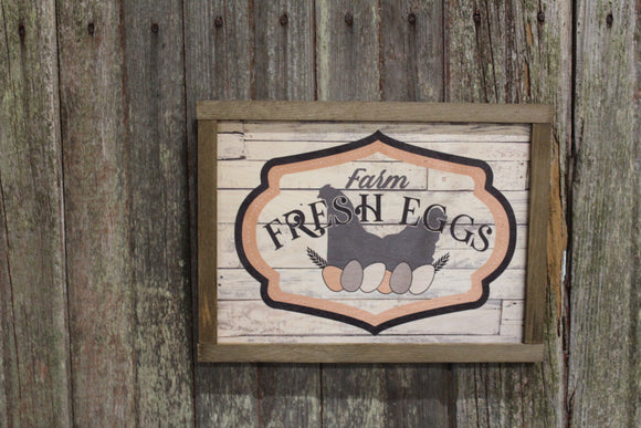 Farm Fresh Eggs Wood Sign Chicken Hens Nest Shiplap Frame Farmhouse Decor Print Primitive Rustic Barn Wood Chicken Coop Pastel Spring