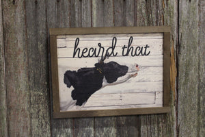 Heard That Wood Sign Cow Pun Silly Holstein Herd Shiplap Farmhouse Decor Gift Print Primitive Rustic Barn Wood Pallet Wood Heifer