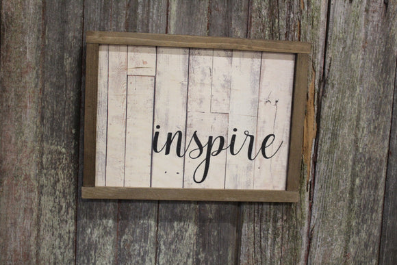 Inspire Pallet Wood Sign Print Farmhouse Decoration Text Inspirational Gift Barn Wood Frame Wall Art White Shiplap Script
