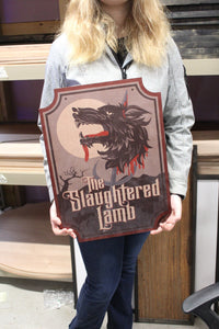 Large Slaughtered Lamb  Sign with UV Ink Printed Extra Detail Contour Business Logo Wood