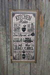 Kitchen Rules Wood Sign  Shiplap Silly Funny Pun Don't Flip Out Eat it or Starve Whip It Good Wall Art Farmhouse Primitive Rustic Text Large