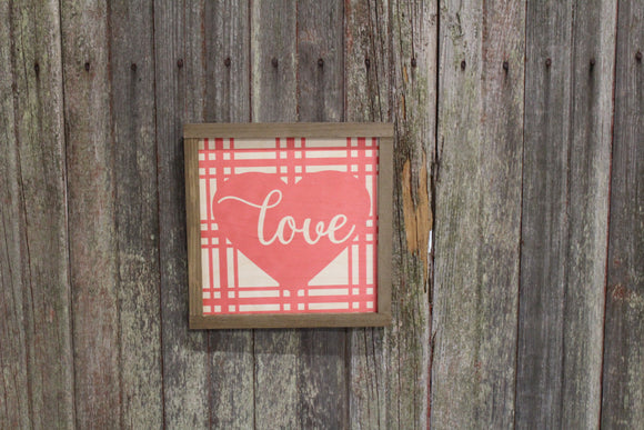 Valentines Wood Sign Love Plaid Valentines Day Hearts Red Pink Brown Framed Print Wall Art Farmhouse Primitive Rustic