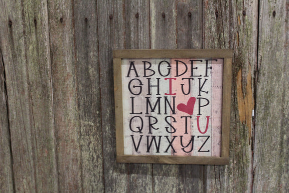 Valentines Wood Sign Alphabet ABC's Heart Sweetest Day Valentines Day I Heart You I Love You Shiplap Print Art Farmhouse Primitive Rustic
