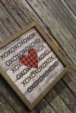 Valentines Wood Sign XOXO Text Buffalo Plaid Heart Sweetest Day Valentines Day Red Shiplap Print Art Farmhouse Primitive Rustic