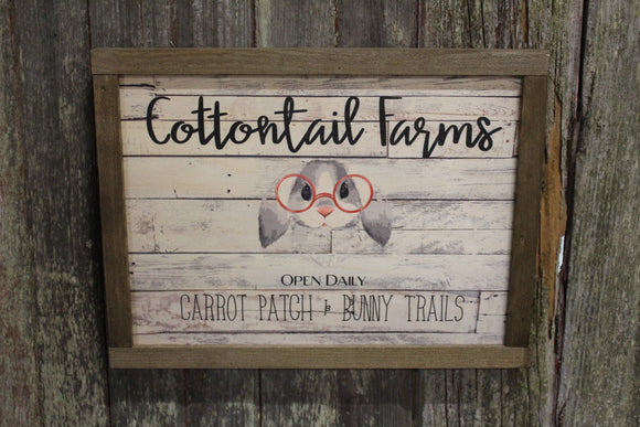 Cottontail Farms Wood Sign Spring Bunny Rabbit Glasses Shiplap Rustic Primitive Wall Art Picture Text Script Open Daily Carrot Patch Trails