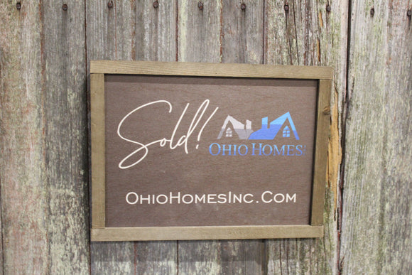 Sold! Realtor Sign Wood Photography Prop Sign Advertising Closing Company Sign Decor Gift for Real Estate Print Custom Business Logo
