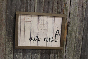Our Nest Pallet Wood Sign Print Farmhouse Decoration Text House Warming Home Owners Gift Barn Wood Frame Wall Art White Shiplap Script