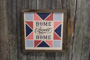 Home Sweet Home Barn Quilt Wood Sign Pastel Star Country Brown Framed Square Pattern Block Print Wall Art Farmhouse Primitive Rustic