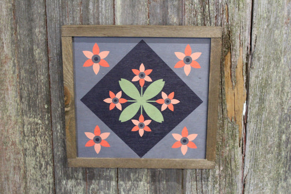 Flower Barn Quilt Wood Floral Bloom Diamond Sign Pastel Country Brown Framed Square Pattern Block Print Wall Art Farmhouse Primitive Rustic