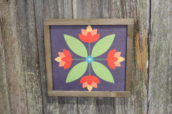 Tulip Barn Quilt Wood Sign Flower Bloom Floral Red Orange Yellow Green Country Square Pattern Block Wall Art Farmhouse Primitive Rustic