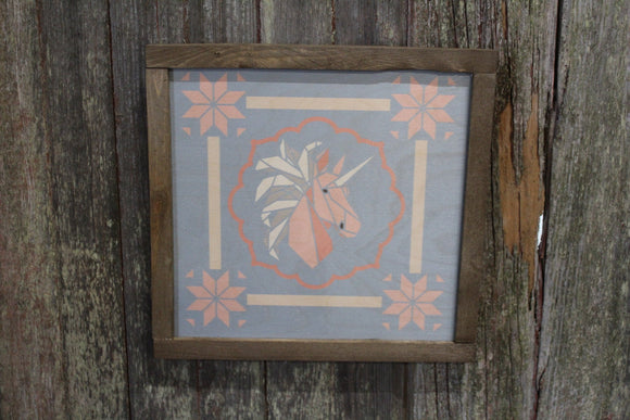 Unicorn Barn Quilt Wood Sign Stylized Pastel Origami Shapes Country Square Pattern Block Wall Art Farmhouse Primitive Rustic