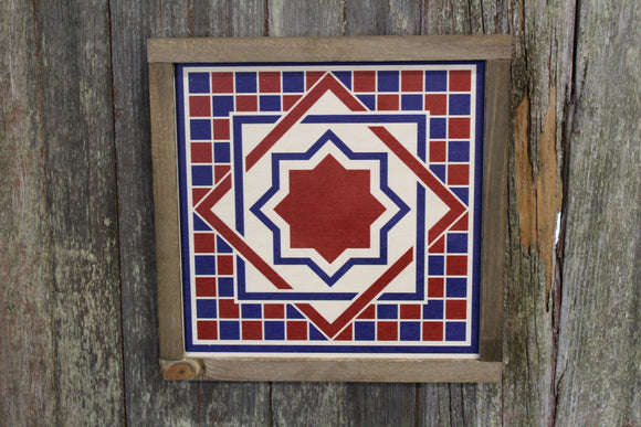 Diamond Triangle Barn Quilt Wood Sign Stylized Geometric Origami Red White Blue Square Pattern Block Wall Art Farmhouse Primitive Rustic