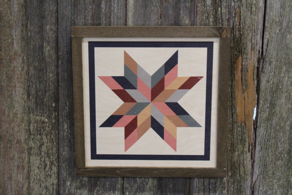 Star Triangle Barn Quilt Wood Sign Stylized Geometric Origami Pastel Square Pattern Block Wall Art Farmhouse Primitive Rustic